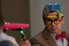 Doctor Who fixing a hoverboard while wearing Marty McFlys Back to the Future II Hat