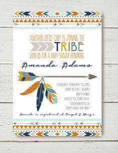 Tribal Shower Invitation GIRL by BelvaJune on Etsy