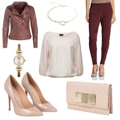 OneOutfitPerDay 2015-10-07 - #ootd #outfit #fashion #oneoutfitperday - Frauen Outfit Frühlings Outfit Herbst Outfit Outfit des Tages Bluse BUFFALO Carmen-Bluse Clutch Damenuhr Emporio Armani Jacke Kaffe Kette Lederoptik Love Moschino Pumps Vila YAY - You Are Young YAYA