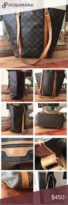 """Authentic Louis Vuitton Sac Shopping Tote 100% Authentic Louis Vuitton Sac Shopping Tote.  Monogram canvas has no scratches or tears. Vachetta leather has turned to honey patina.  Has cracks but stitching is good.  Straps have wear but no cracking and stitching is good.  Inside is clean.  Zipper pocket is clean.  Key ring on this bag.  Beautiful vintage bag with tons of life left.  W15.8xH12.5xD5.5"""".  I do not trade Louis Vuitton Bags Shoulder Bags"""