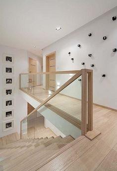 Modern Stairs // minimal wood stairs at the House Interior by Widawscy Studio Architektury Home Stairs Design, Interior Design Living Room, Minimalist House Design, Minimalist Home, Glass Stairs, Wood Stairs, Glass Stair Railing, Timber Staircase, Farmhouse Flooring