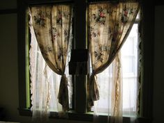 faded floral curtains