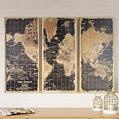 World Map Wall Decor, Wall Decor Set, Map Wall Art, Wood Wall Art, Framed Art, Tv Decor, Old World Maps, Vintage World Maps, Vintage Map Decor