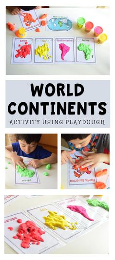 World Continents with playdough is interactive and hands on. Plus students get to play with playdough and they love that. Continents Activities, Geography Activities, Geography For Kids, Playdough Activities, Geography Lessons, Teaching Geography, Montessori Activities, Kindergarten Activities, Preschool Activities