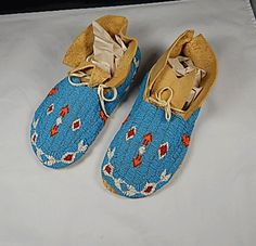 Native American Indian Vintage Beaded Moccasins Mint | eBay