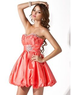 A-Line/Princess Sweetheart Short/Mini Taffeta Evening Dresses With Ruffle Beading (017013951)