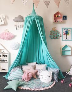 Modern Crib Canopy Tent, Green Baldachin by DomnaDereve Bed Canopy Play Canopy Mint Green Nursery Canopy