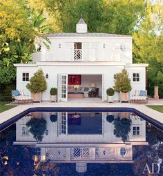 (Chinoiserie rail pattern better viewed in pool reflection)    via The Pink Pagoda: School's Out For Summer!