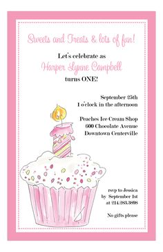 First Pink Cup Cake Invitation