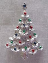 Gerry's Signed Christmas Xmas Tree Pin Silvertone with Enamel Ball Ornaments
