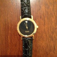 NWOT Blk & Gold Diamond Watch Pretty black patent crocodile embossed Genuine Diamond Quartz Ladies Watch. Needs battery. Accessories Watches