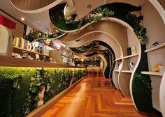 PABLO restaurant by Rondo, Himeji Japan restaurant Commercial Interior Design, Commercial Interiors, Retail Interior, Interior And Exterior, Lobby Interior, Curve Design, Design Design, Lobby Design, Store Interiors