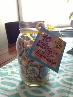 Anniversary gift or a Christmas present of 12 most favorite times during each month of that year...keep forever in a bigger jar.