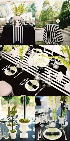 Black Gold Party Black and White Striped Wedding Inspiration! - Details and photos from my Nashville, Tennessee black and white striped wedding including tablescape details! Striped Wedding, Purple Wedding, Wedding Colors, Trendy Wedding, Wedding Ideas, Wedding Inspiration, Wedding Themes, Wedding Black, Color Inspiration