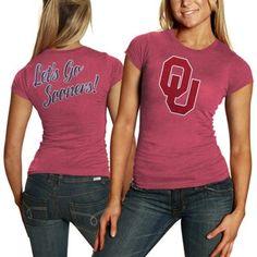 Oklahoma Sooners Women's Audible Melange Doube-Sided Slim Fit T-Shirt - Crimson