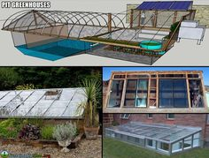 http://www.inspirationgreen.com/pit-greenhouses.html  I'd love a house with a pit greenhouse/sun room.  In this house I'd remove the red shed and build it extended from the downstairs bedroom.  Maybe get some extra heating from it.