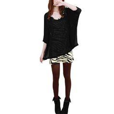 Allegra K Women Scoop Neck Batwing Sleeve Chiffon Blouse w Tank Top Black White XS Allegra K. $11.74