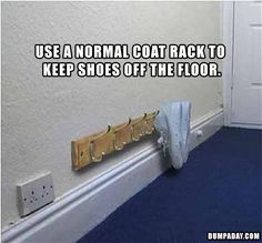 This is an awesome idea. S and I like the idea of removing shoes when you come in in the home. This is a great substitute to a bulky shoerack. House slippers could be slipped on each hook and replaced with the shoes that were taken off.