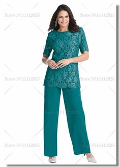 Elegant blatic Two piece Chiffon  mother of the bride pant suits with lace Plus size US $149.00