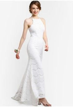 Bridesmaid Mermaid Lace Dress from ZALORA in white_1