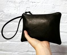 Black leather wristlet clutch / Simple black clutch / Plain