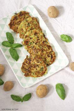 Penne im Topf: Zucchini - Kartoffel - Puffer mit Basilikum