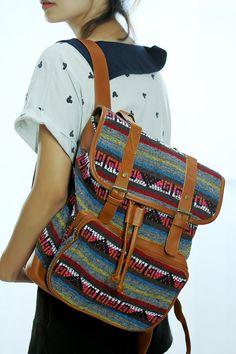 Ikat Abstract tribal native design backpack/ School Bag/ Ethnic rucksack/ holiday bag / Hippie /Boho ethnic gypsy woven tapestry hobo bag