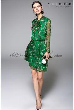 2016 Spring Summer Women Dress Chiffon Print Voile Loose Silk Soft Vintage Fashion Elegant Flower Women Dress ch223 - STYLANDO