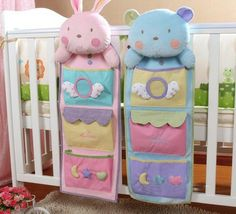 Cartoon baby Pocket  diaper bag Baby bed hang bags Neonatal bed storage bag Baby bedding products
