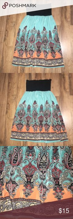 """Strapless tube top boho paisley print dress Length: 26"""" Bust: 11"""" Waist: 11""""  No size or fabric tag.  Size is estimated based on measurements.   Inventory: P Dresses Mini"""