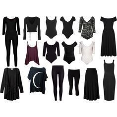 Strega capsule wardrobe: basics by archeo-folklorist on Polyvore featuring Ballet Beautiful, Agent Ninetynine, Boohoo, Topshop, H&M, Lucy, Miss Selfridge, EAST and Wildfox   --- I'm not so fond of bodysuits, etc. but the general idea is sound.