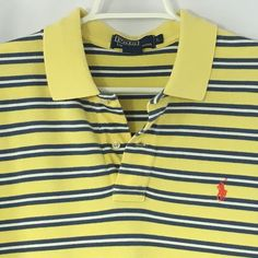 Men's Polo Golf Ralph Lauren Yellow And Blue Size Large Pink Pony #PoloRalphLauren #PoloRugby