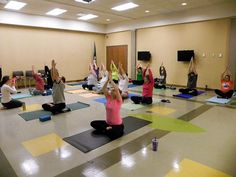 A beginners class taught by instructor Elan Adams practices yoga poses.