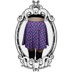 Sunset Sea Witch Printed Skater Skirt by ToothAndEye, designed and handmade in Kamloops, BC, Canada!