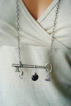 Vintage Skeleton Key Necklace Amethyst Bohemian by AJBcreations, $50.00