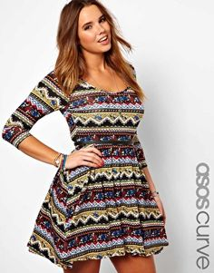 Image 1 of ASOS CURVE Exclusive Skater Dress In Mexican Floral