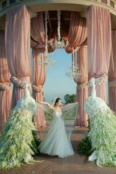 Gorgeous wedding peacock decor