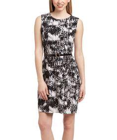 Look at this #zulilyfind! Black & White Jungle Belted Sleeveless Dress by John Miller #zulilyfinds