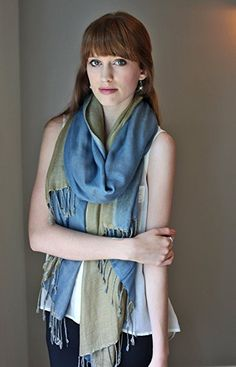 Anika Dali Women's Luxurious Reversible Pashmina Scarf with Tassels (Sapphire Blue / Tea Green) at Amazon Women's Clothing store: Fashion Scarves