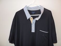 Faconnable Mens Blue Pique Cotton 2 Tone Blue Polo Shirt SZ 4XL Mint Fast Ship #Faconnable #PoloRugby