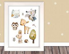 """Kinderbild """"Waldtiere"""" (Poster Kinderzimmer) von Pipapier auf DaWanda.com    Natürliches Kinderbild mit vielen süßen Waldtieren.  Warme Farben, niedliche Gesichter und ein feiner Duft von Tannenzweigen und fruchtigen Beeren:Dieses Kinderbild zaubert Natürlichkeit und Freude in jedes Kinderzimmer.       Eule, Reh, Dachs, Hase und Igel"""