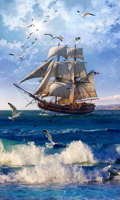 Old Sailing Ships, Ship Paintings, Seascape Art, Sail Away, Painting Videos, Tall Ships, Ship Art, Sailboat, Strand