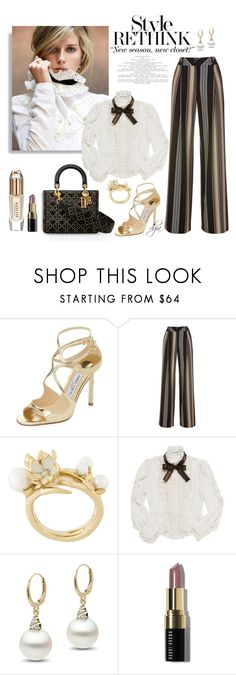 """""""Jimmy Choo sandals and striped pants"""" by dgia on Polyvore featuring Jimmy Choo, Shaun Leane, Bobbi Brown Cosmetics and Burberry"""