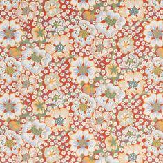 In this wallpaper, sturdy stems twist their way upwards entwined by a flowering climber.  - Wallpaper Eldblomman, Paper, Eldblomman, Red, Josef Frank