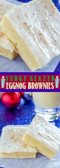 Fudgy Glazed Eggnog Brownies - An easy, festive Christmas dessert!