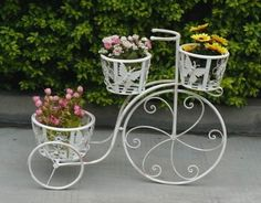 [Hot Item] 2012 New Bicycle Flower Pot Stand and Wedding Home Garden Decoration Iron Furniture, Garden Furniture, Flower Vases, Flower Pots, Wrought Iron Decor, E 38, Garden Wedding Decorations, Flower Stands, Plant Hanger
