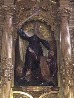 The prophet Elijah killing the prophets of Baal. Our Lady of Mt. Carmel church in Burgo de Osma