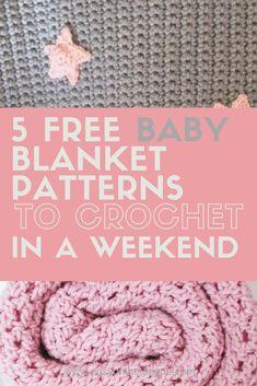 5 Free Baby Blanket Patterns to Crochet in a Weekend 5 Free Baby Blanket Crochet Patterns to make in a weekend round up on www. Pink 5 Free Baby Blanket Patterns to Crochet in a Weekendd Crochet Baby Blanket Free Pattern, Crochet For Beginners Blanket, Easy Crochet Patterns, Baby Patterns, Free Crochet, Crochet Blankets, Kids Crochet, Crochet Stitches, Crochet Ideas