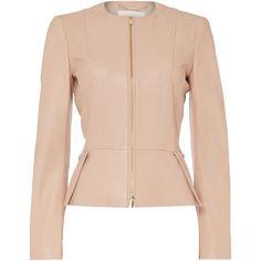 Hugo Boss Sasoon Zip Thru Peplum Leather Jacket (1,025 SGD) ❤ liked on Polyvore featuring outerwear, jackets, beige, women, pink peplum jacket, zipper jacket, hugo, real leather jacket and long sleeve jacket