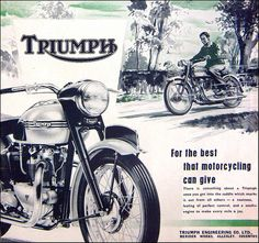 Old Triumph Motorcycle Ad - For the best that motorcycling can give